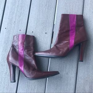 Balmain Vintage Burgundy and Pink Ankle Boots